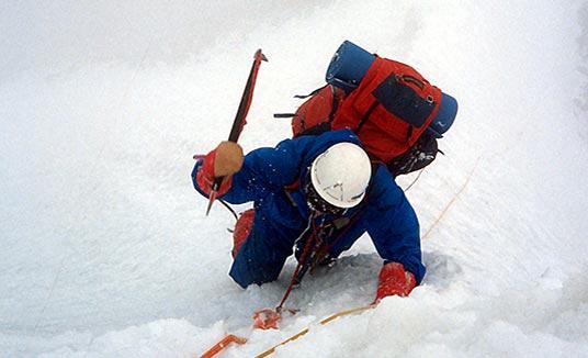 Wojtek Kurtyka in the wall of Broad Peak.