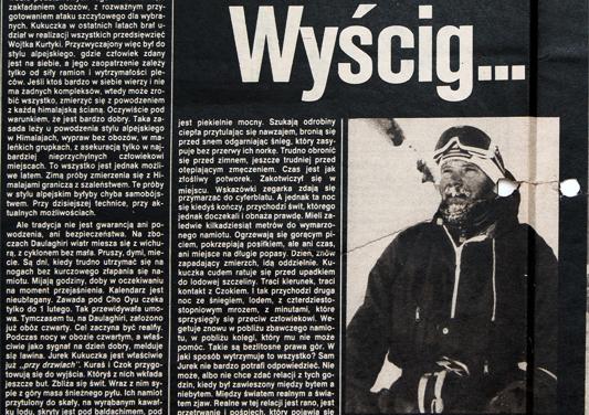 Jeden z licznych artykułów jakie ukazały się po zdobyciu przez Kukuczkę Dhaulagirii i Cho Oyu. Dziennikarze relacjonują spektakularny wyścig na wysokościach.