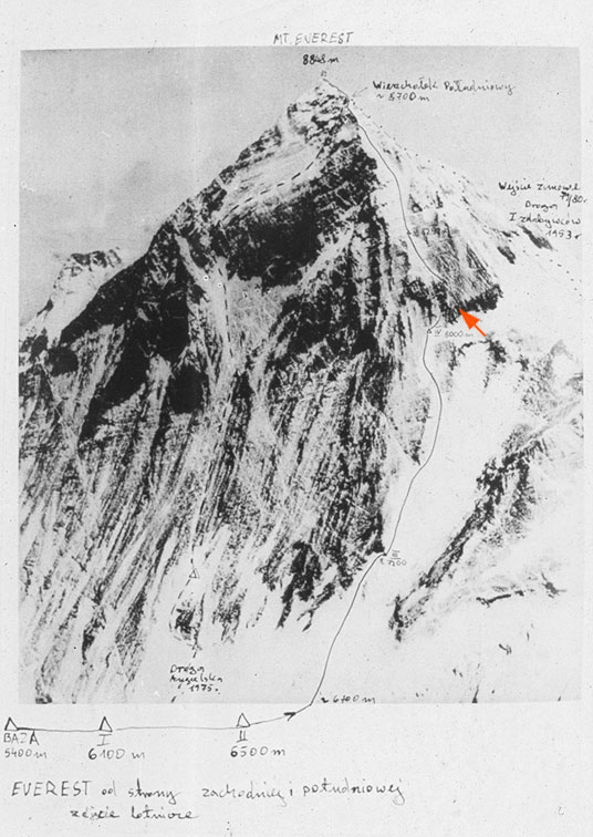 Drawing showing the development of the road to Mt. Everest found in the documentation of the expedition from 1980. The orange arrow indicates the main climbing problem of the Polish road to Mt. Everest.