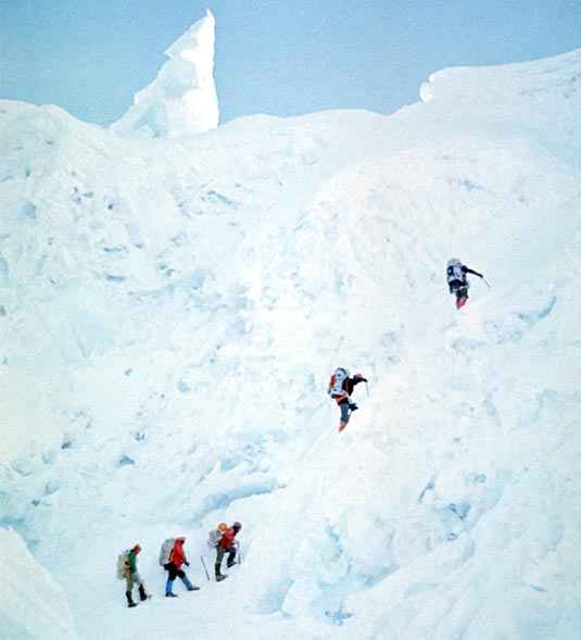 Participants of the expedition while crossing the Khumbu Glacier leading to camp