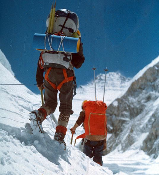 Khumbu Glacier, Andrzej Czok from the left, Kazimierz Olech.
