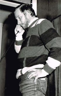 Jerzy Kukuczka in his flat in Katowice - Zadole during a telephone conversation