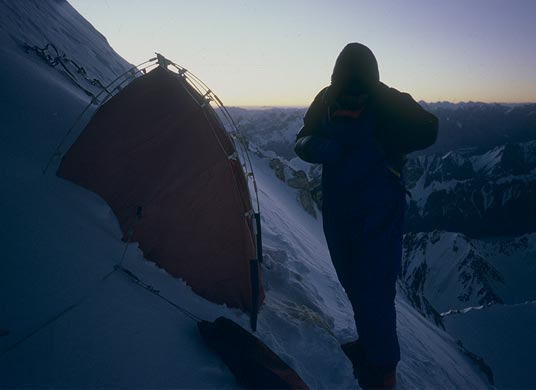 A bivouac in the wall of Gasherbrum I