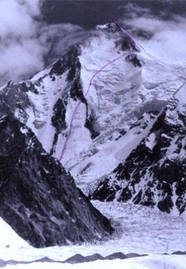 The photo shows a cauldron at the foot of the southwestern wall of Gasherbrum I along with the Kukuczka and Kurtyka road marked