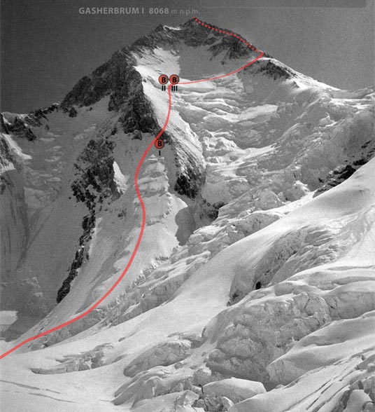 Visualization of the south-west wall of Hidden Peak (Gasherbrum I), with road and bivouacs from 1983