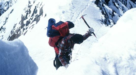 Wojtek Kurtyka at the foot of Gasherbrum I