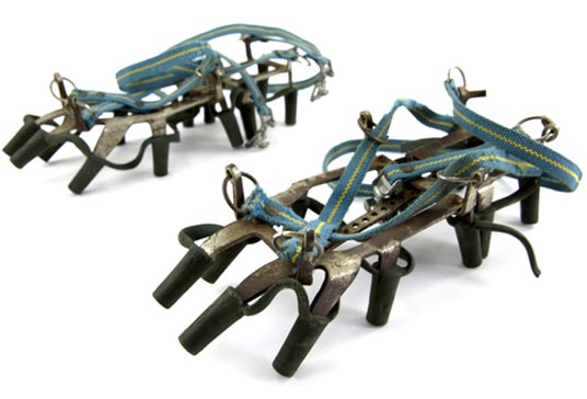Typical stripe crampons used in the 80's by Polish climbers during Himalayan expeditions